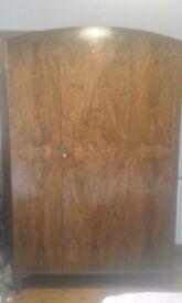 1930s walnut veneer wardrobe