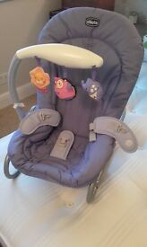 Baby chair, reclining and option of fixed feet or rocking
