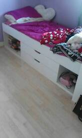 Single white cabin bed with storage and draws