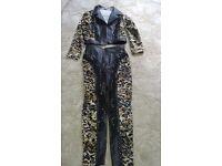 Ladies Leatherette & Animal print Trouser Suit