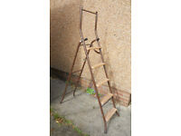 5 Tread Metal and Wood Steps, Step Ladder converts to 10 rung Ladder