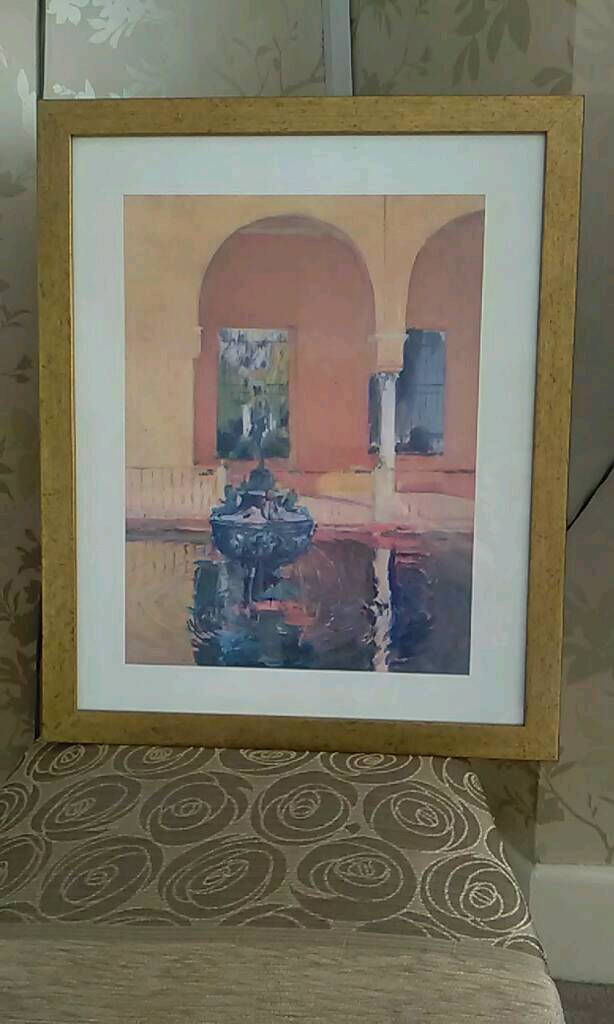 Gold effect Frame with sorolla pool picture