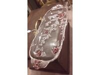 walther glass tray pink roses