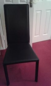 black leather dining chair x 4