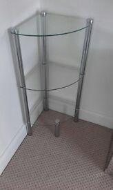 Glass chrome corner unit