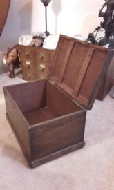 small oak wooden box chest
