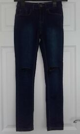 girls blue ripped skinny jeans