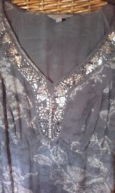 Pepperberry dress barely worn size 16 in greyish / green colour. Nice detail bought for wedding