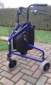ULTRA LIGHT FOLDING 3 WHEELED WALKER WITH SHOPPING BAG (CHOICE OF 2)