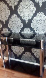 black glass matrix console table