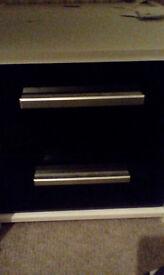 2 Drawer Bedside Chest - White & Black Gloss