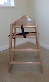 Sturdy Wooden Highchair with Straps