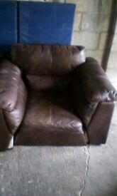 Brown leather sofa and chair selling as i have a new sofa now will do someone a good turn