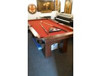 BCE 'CHICAGO' FULL SIZED RED CLOTH AMERICAN POOL TABLE WITH ACCESSORIES