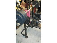 Weight lifting bench and weights