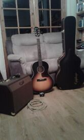 Epiphone EL 00 pro electro acoustic guitar with hardcase & 25amp acoustic amplifier with lead.