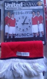 MANCHESTER UNITED SCARF COMMEMORATING 50 YEARS OF MUNICH AIR DISASTER