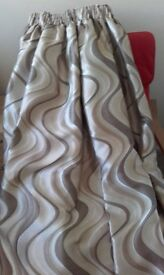 """BEAUTIFUL HEAVY SILKY BROWN, CREAM & OYSTER LINED SWIRL CURTAINS 184"""" wide X 77"""" long"""
