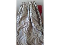 "BEAUTIFUL HEAVY SILKY BROWN, CREAM & OYSTER LINED SWIRL CURTAINS 184"" wide X 77"" long"