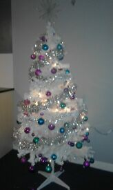 6ft White Pre -lit Christmas Tree with Decorations.