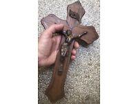 Woodrn anc metal crucifix cross Jesus