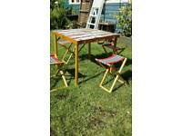 Retro wooden picnic table and four stools