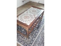 Solid wood and tile coffee table