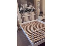 Cream Metal King Size Bed Frame