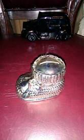 SILVER PLATED VINTAGE CHRISTENING BOOT MONEY BOX