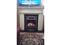 Cream fire surround with electric fire insert