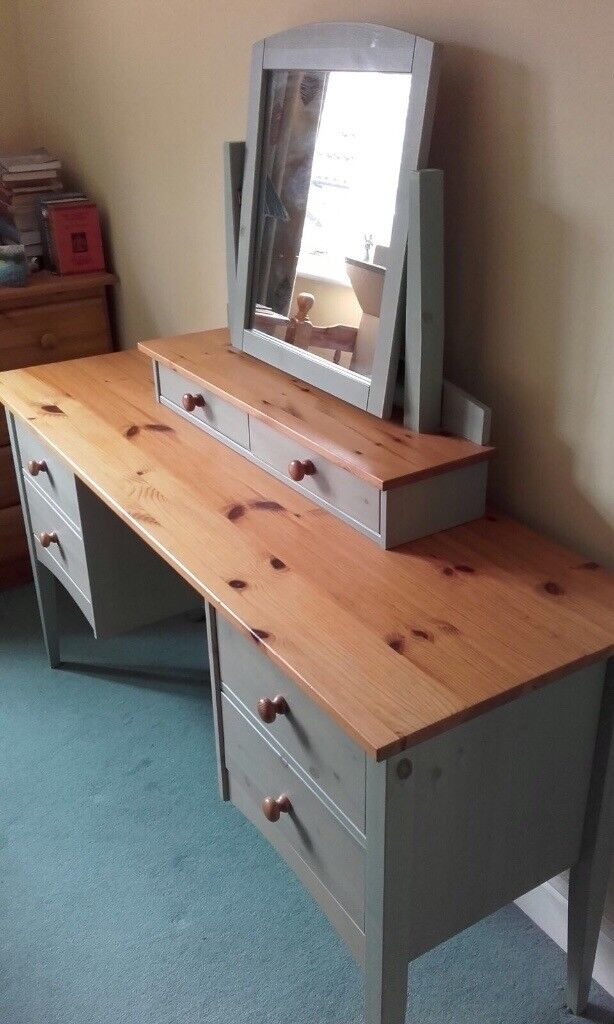Solid Pine Desk Dressing Table And Bedside Drawer Tables Pale Green Wash Excellent Condition