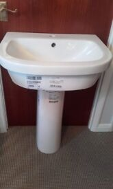 Pedestal bathroom sink from Wicks. 600m for mixer tap. Brand new.