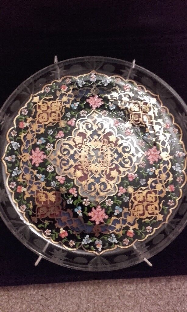 Collectable pasabahce signed plate hand painted
