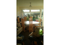 8 seater marble dining table and 8 chairs