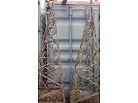 vintage metal planter and obelisk