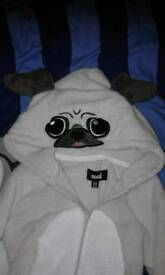 Fleece pug onesie 3-4 years