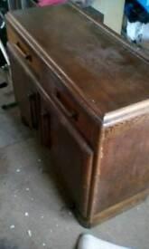 Old Solid wood veneer sideboard