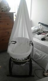 Clair de lune Moses basket with drapes and stand