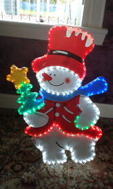 "LED Snowman indoor/outdoor 84cm. (33"") stand or hanging"