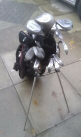 Various golf clubs with a carry bag