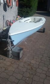 LASER 2 SAILING BOAT. BOAT ONLY NO SAILS OR MAST. WITH LAUNCHING TROLLEY. £185.