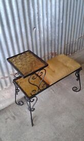 Vintage / retro wrought iron and glass telephone seat and table