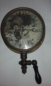 Vintage Brass Vacuum Pressure Gauge Dennis Steam Punk Collectable