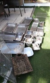 Assorted stainless steel trays and racks