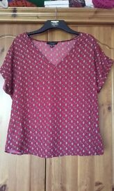 V neck red top size 16
