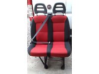 Twin Passenger Seat - Van or Campervan - Red and Black - Great Condition