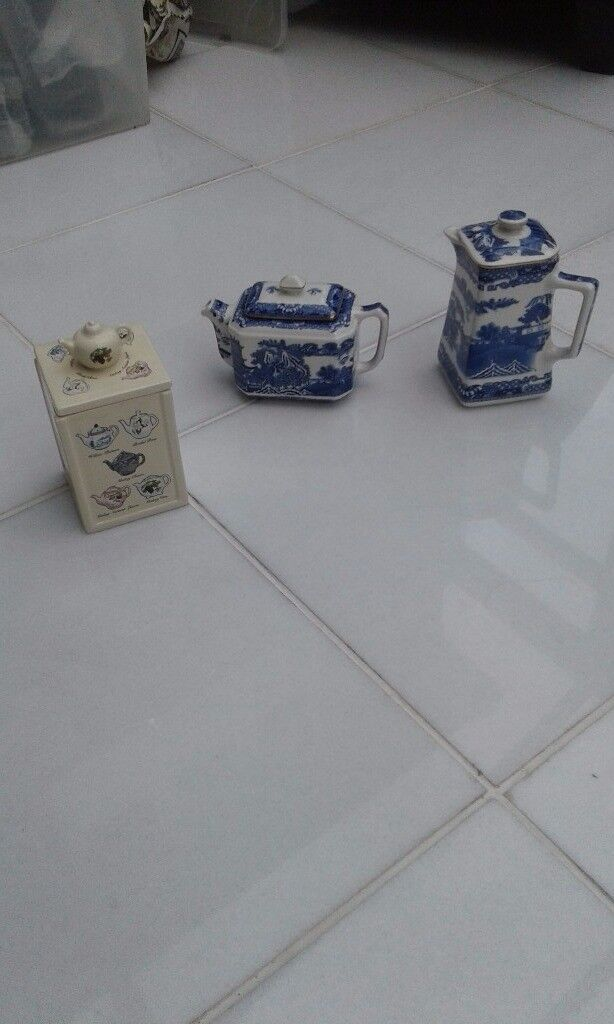 Ringtons Tea Company Tea Caddy, Small Teapot and small Coffee Pot.