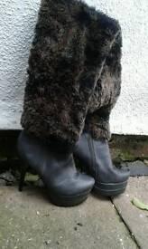 Fluffy winter high heels