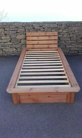 Wooden bed frame for single mattress (includes headboard)