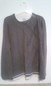 XL Burtons Grey White Long sleeve top